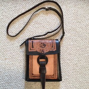 Brand new Mexican tooled leather cross body purse